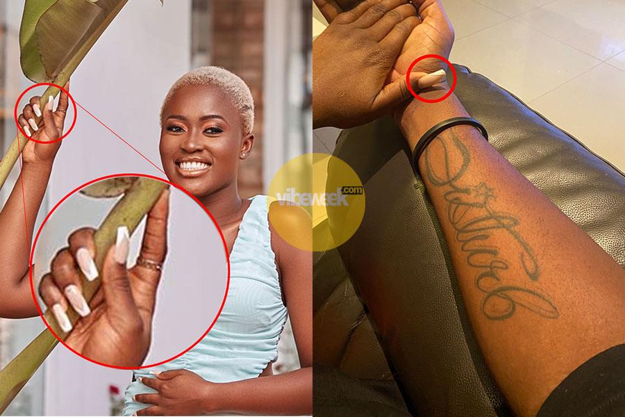 Fella Makafui gets first Tattoo with Medikal's Signature